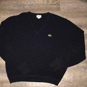 ❤️ VTG Black Izod Lacoste V-Neck Sweater ❤️